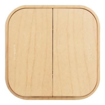 Проходной переключатель двухклавишный 10А Quteo (Дерево) 782266