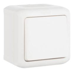 Проходной одноклавишный Выключатель IP44 (Белый)