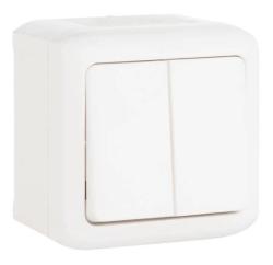 Проходной двухклавишный Выключатель IP44 (Белый)