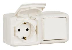 Выключатель + Розетка Quteo IP44 (Белый)