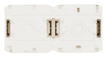 Розетка двойная с заземлением со шторками IP44 (Белый) 782323