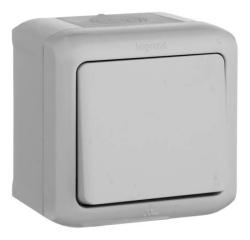 Проходной одноклавишный Выключатель IP44 (Серый)