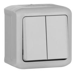 Проходной двухклавишный Выключатель IP44 (Серый)