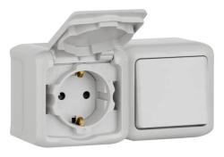 Выключатель + Розетка Quteo IP44 (Серый)
