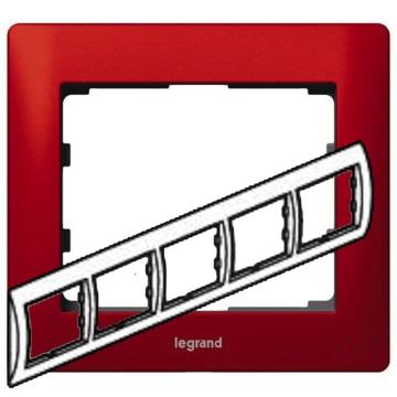 Артикул: 771905, Рамка Galea life пятиместная горизонтальная (красный)