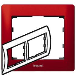 Рамка Galea life двухместная горизонтальная (красный)