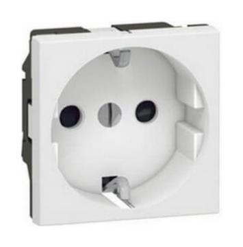 Механизм электрической розетки Legrand Mosaic c заземлением cо шторками винтовые клеммы (белый) 077213