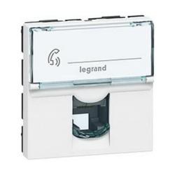 Механизм компьютерной розетки Legrand Mosaic RJ45 Кат.6 FTP 2 модуля (белый) 076565