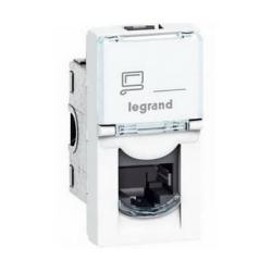 Механизм компьютерной розетки Legrand Mosaic RJ45 Кат.5e FTP 1 модуль (белый) 076552