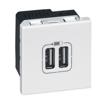 Механизм розетки USB Legrand Mosaic 2 модуля (белый)