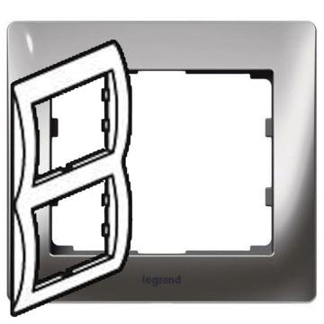 Рамка Galea life двухместная вертикальная (хром) 771936