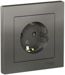 Розетка с заземлением AtlasDesign с рамкой (сталь) ATN000944