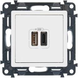 Розетка USB Valena Life с двумя разъемами тип А/тип С (белая) 753106