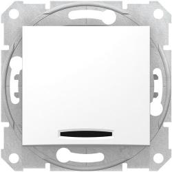 Проходной одноклавишный переключатель с подсветкой Sedna (белый) SDN1500121
