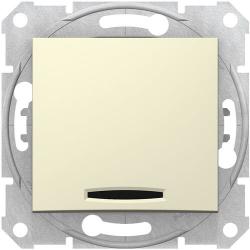 Кнопочный выключатель Sedna с синей подсветкой (бежевый) SDN1600147