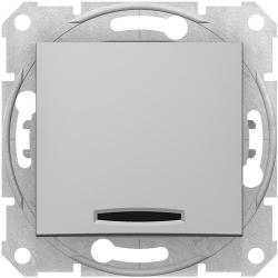 Кнопочный выключатель Sedna с синей подсветкой (алюминий) SDN1600160