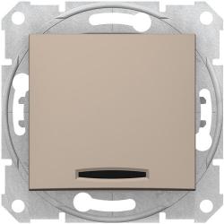 Кнопочный выключатель Sedna с синей подсветкой (титан) SDN1600168