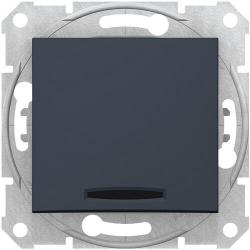 Кнопочный выключатель Sedna с синей подсветкой (графит) SDN1600170