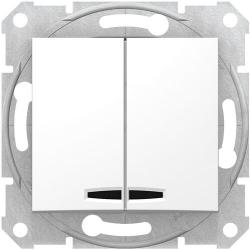 Выключатель двухклавишный с подсветкой Sedna (белый) SDN0300321
