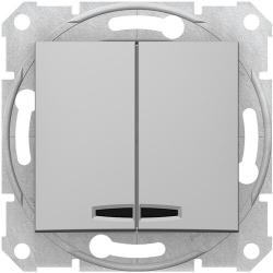 Выключатель двухклавишный с подсветкой Sedna (алюминий) SDN0300360