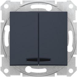 Выключатель двухклавишный с подсветкой Sedna (графит) SDN0300370