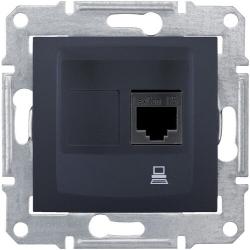Розетка компьютерная RJ45 Sedna кат. 6 неэкранированная UTP (графит) SDN4700170