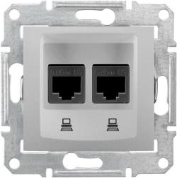 Розетка компьютерная RJ45 Sedna двойная кат. 6e UTP (алюминий) SDN4800160