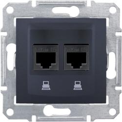 Розетка компьютерная RJ45 Sedna двойная кат. 5e UTP (графит) SDN4400170