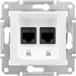 Розетка компьютерная RJ45 Sedna двойная кат. 5e UTP (белый) SDN4400121