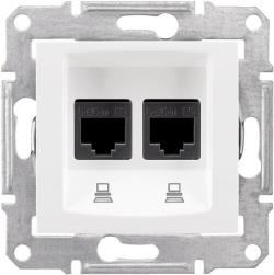 Розетка компьютерная RJ45 Sedna двойная кат. 6e UTP (белый) SDN4800121