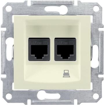 Розетка компьютерная RJ45 Sedna двойная кат. 5e UTP (бежевый) SDN4400147