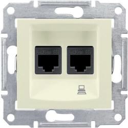 Розетка компьютерная RJ45 Sedna двойная кат. 6e UTP (бежевый) SDN4800147