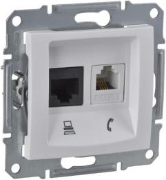 Розетка телефонная + компьютерная кат. 5е Sedna (белый) SDN5100121