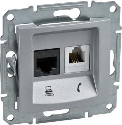 Розетка телефонная + компьютерная кат. 5е Sedna (алюминий) SDN5100160