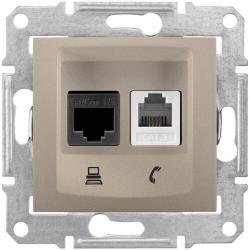 Розетка телефонная + компьютерная кат. 5е Sedna (титан) SDN5100168