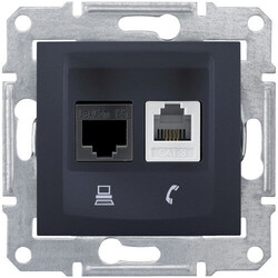 Розетка телефонная + компьютерная кат. 5е Sedna (графит) SDN5100170
