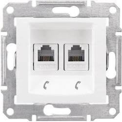 Телефонная розетка Sedna на 2 выхода (белый) SDN4201121