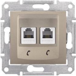 Телефонная розетка Sedna на 2 выхода (титан) SDN4201168