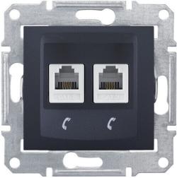 Телефонная розетка Sedna на 2 выхода (графит) SDN4201170