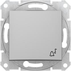 Кнопочный выключатель Sedna с символом «звонок» (алюминий) SDN0800160