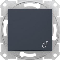 Кнопочный выключатель Sedna с символом «звонок» (графит) SDN0800170