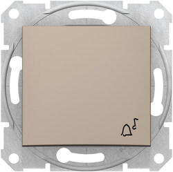 Кнопочный выключатель Sedna с символом «звонок» (титан) SDN0800168
