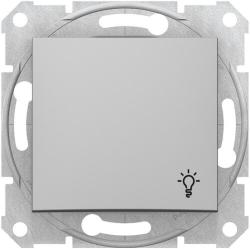 Кнопочный выключатель Sedna с символом «свет» (алюминий) SDN0900160