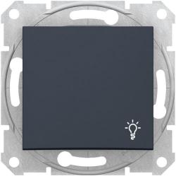 Кнопочный выключатель Sedna с символом «свет» (графит) SDN0900170