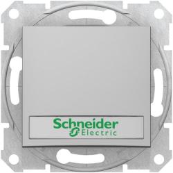 Кнопочный выключатель Sedna с полем для надписи и подсветкой (алюминий) SDN1600360