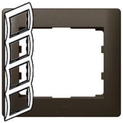 Рамка Galea life четырехместная вертикальная (темная бронза)