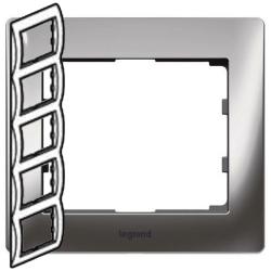 Рамка Galea life пятиместная вертикальная (хром)