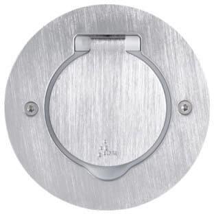 Лючок IP44 круглый 1 пост (2 модуля) нержавеющая сталь 089701