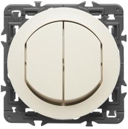 Влагозащищенный двухклавишный выключатель-переключатель Celiane (сл. кость) 067001+067822+080251