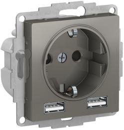 Розетка 220В+USB AtlasDesign (сталь) ATN000930